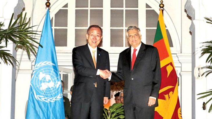 UN Secretary General Ban Ki-moon met Prime Minister Ranil Wickremesinghe at Temple Trees last night, soon after their arrival in the island. Mrs Ban Soon-taek and Mrs Maithri Wickremesinghe were also present. Picture by Vipula Amerasinghe