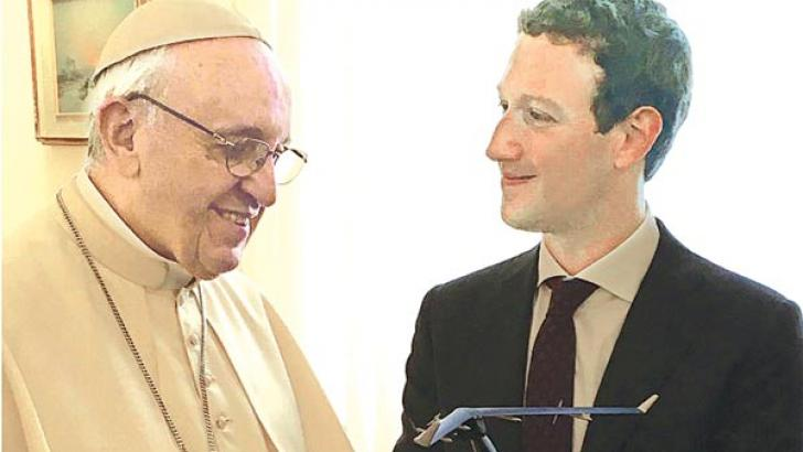 Mark Zuckerberg gave Pope Francis a miniature model of Aquila as a souvenir. Aquila is company's solar-powered plane project. (Source: Facebook)