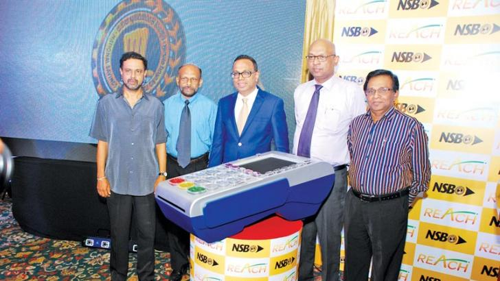 Rohana Abeyrathne - PMG and Director NSB, Anil Rajakaruna, Director NSB,  Aswin De Silva, Chairman NSB,  Dhammika Perera, GM/CEO NSB,  Suranga Naullage , Director NSB at the 'NSB Reach' launch in Colombo on Tuesday.