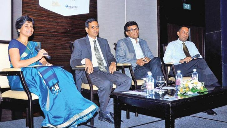 Megalopolis Project Investment Head Nayana Mawilmada,TW Corp Chairman Tilan Wijesinghe, John Keells Properties Suresh Rajendra and Guardian Equities CEO Ruvini Fernando at the event.  Picture by Wasitha Patabandige