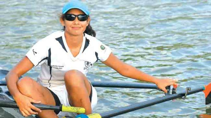 Samaakhya Gajanayake of Colombo Rowing Club reacts after winning the Women's Over 18 Single Scull event of the Rowing Nationals worked off at the Diyawanna, Battaramulla yesterday. (Picture by Nirosh Batepola)