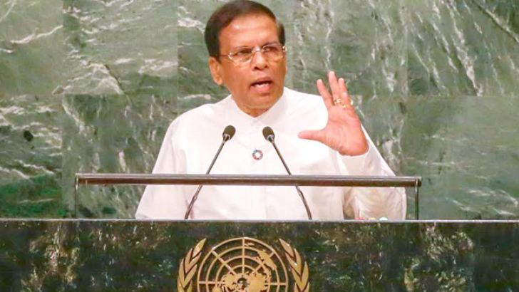 President Maithripala Sirisena addressing the 71st Session of the United Nations General Assembly in New York