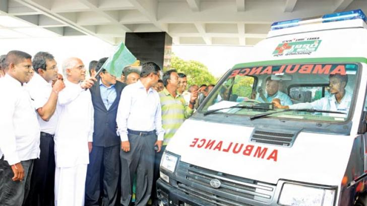 State Minister Eran Wickremaratne flags off the new ambulance service