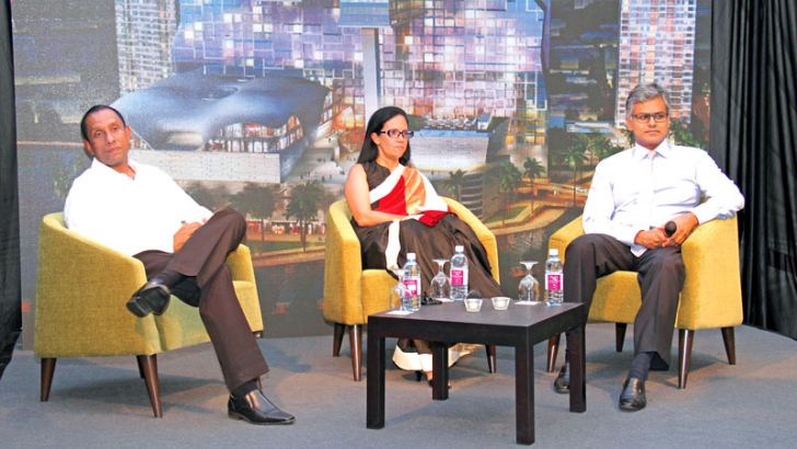 Property Sector President Suresh Rajendra, Property Group at JKH  Chief Marketing Officer/Executive Vice President Roshanie Jayasundera Moraes and Leisure Sector President Krishan Balendra at the press briefing. Picture by Shan Rambukwella