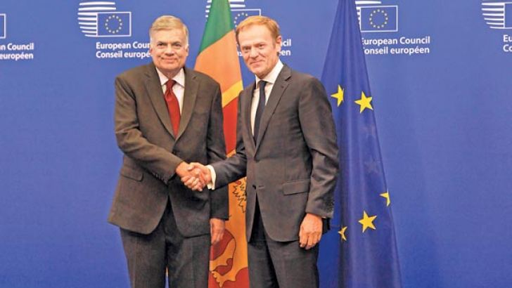 Prime Minister Ranil Wickremesinghe meeting European Council chairman Donald Tusk at the Council headquarters