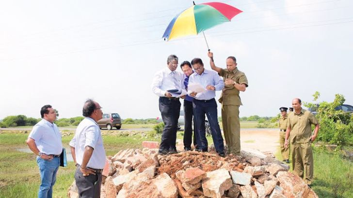 SLC president Thilanga Sumathipala during a site inspection tour of the Jaffna peninsula accompanied by SLC and government officials, provincial and District Cricket Association members, technical support staff and Jaffna police.