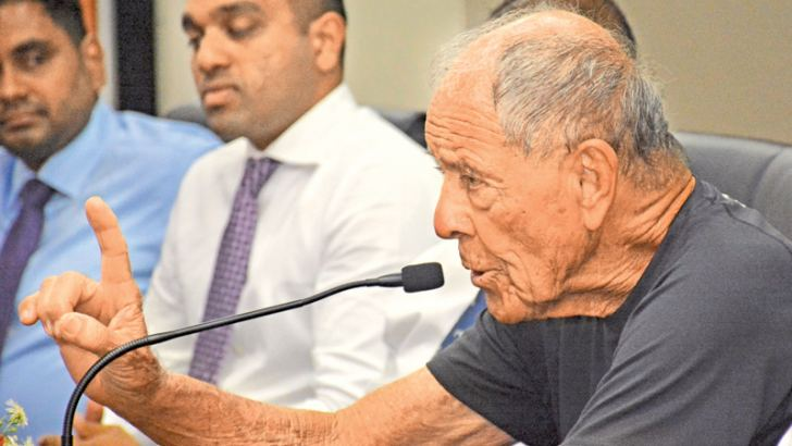 Nick Bollettieri addressing the media conference at the Sports Ministry auditorium yesterday.