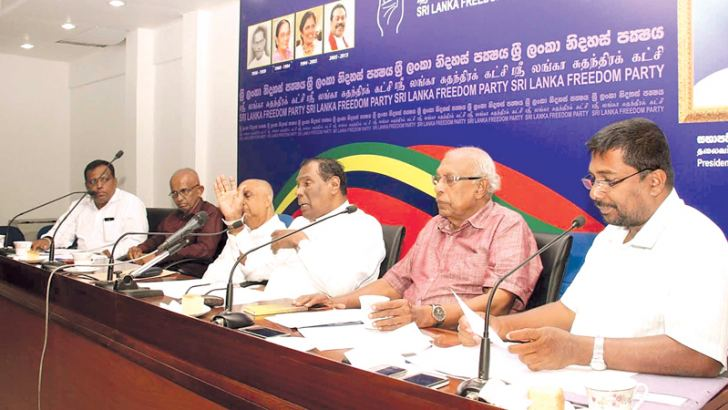 Labour and Trade Union Relations Minister W.D.J.Seneviratne during the Executive Committee meeting of SLFP trade unions.