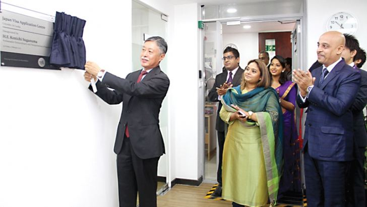 Japanese Ambassador Kenichi Suganuma opening the new Japanese Visa application centre at Geethanjali place, Kollupitiya. Picture by Mahinda Vithanachchi