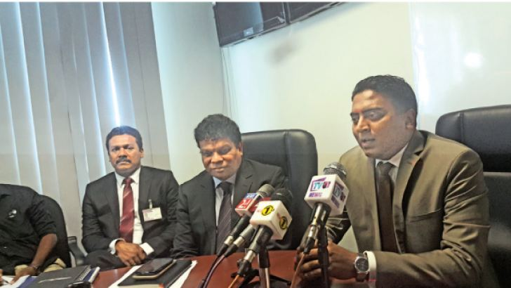 SriLankan Airlines' Cargo Head Chamara Ranasinghe,  Worldwide Cargo Sales Manager Niran Seneviratne and Cliffod Rodrigo at the press conference. Picture by Shirajiv Sirimane.