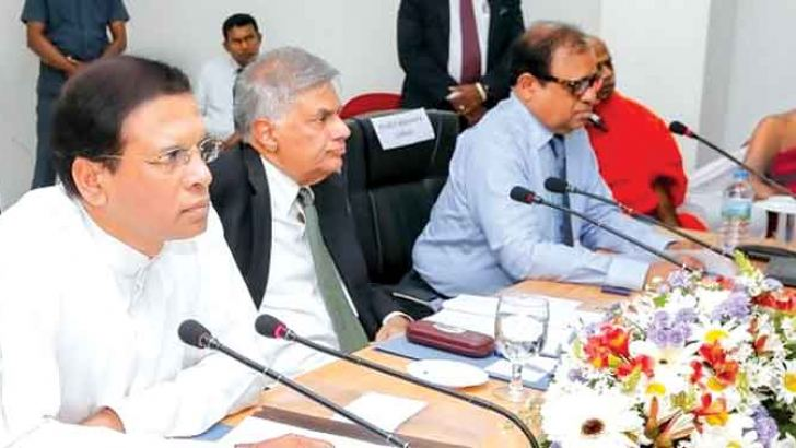 President Maithripala Sirisena and Prime Minister Ranil Wickremesinghe at the Progress Review Meeting to provide compensation to families affected by the Meethotamulla tragedy.