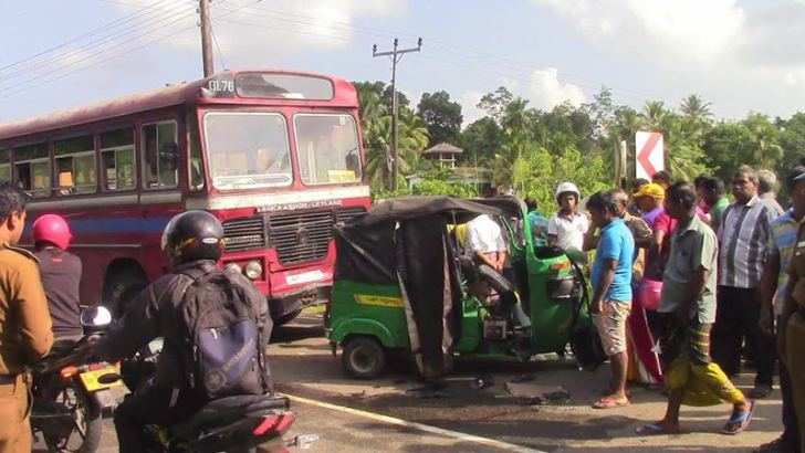 The bus and the three wheeler after the accident. Picture by Mahinda P.Liyanage- Galle central special correspondent