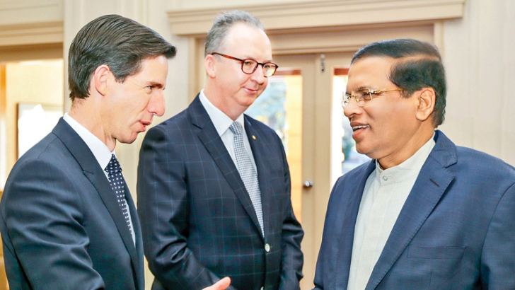 President Maithripala Sirisena who arrived in Canberra yesterday on a three-day State visit on the invitation of Australian Prime Minister Malcolm Turnbull received by Official Secretary to the Governor General Mark Fraser and Education Minister Senator Simon Birmingham. Picture courtesy President's Media Division