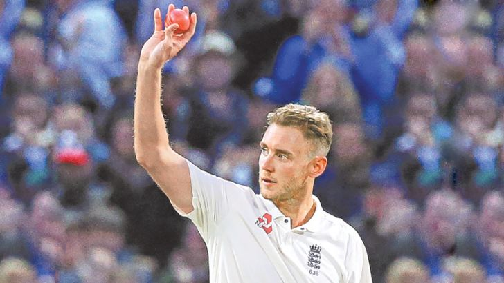 England bowler Stuart Broad gestures after overtaking Ian Botham as England's second highest Test wicket-taker after bowling West Indies Shane Dowrich during play on the third day of the first Test at Edgbaston on Saturday. – AFP