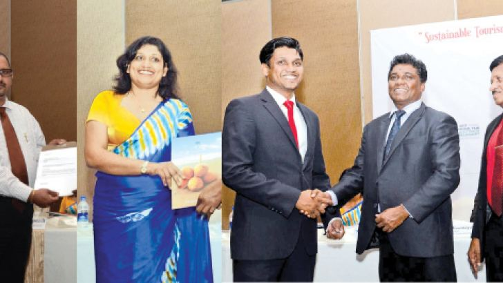 The sponsors, Turkish Airlines, (airline partner,) Coco Royal Beach Resort, (event partner) Mount Lavinia Hotel, (accommodation partner) and Antiquity (transport partner) presetting their sponsorship packages to Dr. D. A. C. Suranga Silva, Founder and Course Coordinator of the event.  Pictures by Wimal Karunathillake