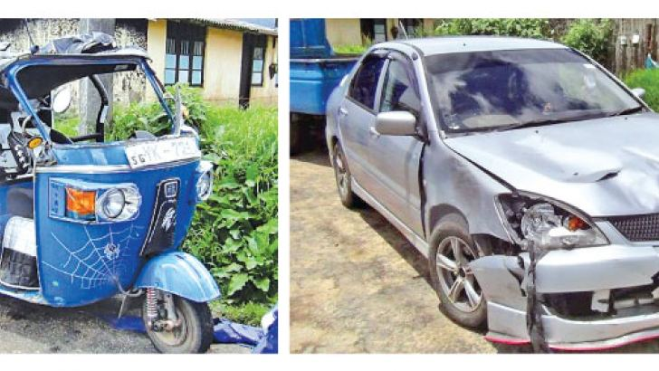 The trishaw and car involved in the accident. Pictures by Maskeliya Group Corr.