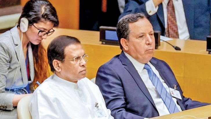 President Maithripala Sirisena participating in the opening ceremony of the United Nations General Assembly at the UN Headquarters in New York yesterday. Foreign Secretary Prasad Kariyawasam and Permanent Representative of Sri Lanka to the United Nations Dr. Amrith Rohan Perera and Coordinating Secretary to the President Shiral Lakthilaka were also present. Picture by Sudath Silva