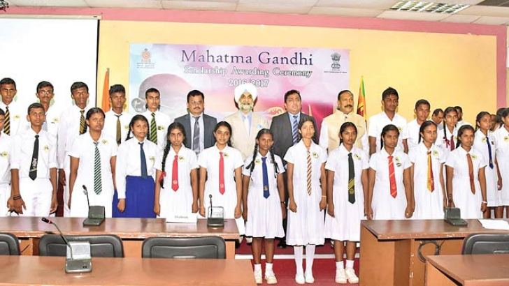 A section of 150 Advanced Level students who received Mahatma Gandhi Scholarships  at a ceremony held last Friday at the Education Ministry Auditorium, Battaramulla under the patronage of Education Minister Akila Viraj Kariyawasam, Education State Minister V. Radhakrishnan and  Indian High Commissioner Taranjit Singh Sandhu,