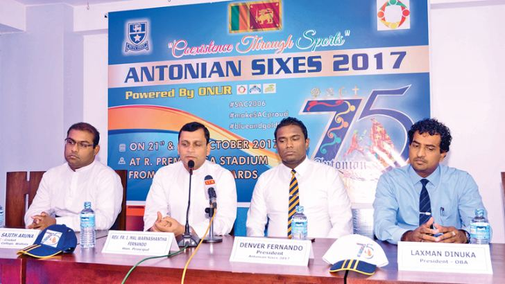 Principal of St. Anthony's College - Rev. Fr. Mal Warnashantha Fernando addressing the press briefing. Also in the picture are from left - Master in charge - Rev Fr. Aruna Sujith, Chairman of Sixes Tourney Organizing Committee - Denver Fernando and President Old Boy's Association - Laxman Dinuka.