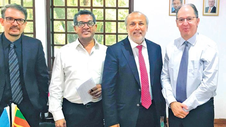 SLMC International Affairs Director and Attorney-at-Law A. M. Faiz, SLMC Leader and Minister of City Planning and Water Supply Rauff Hakeem and UN Special Rapporteur of Truth, Justice, Reparation and Guarantees of Non-recurrence Pablo De Greiff.