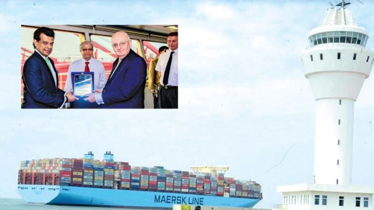 Dr. Parakrama Dissanayake Chairman SLPA being handed over the plaque to commemorate the maiden voyage of Milan Maersk to the Port of Colombo by  Julian Bevis. (Top) and Atul Keshap, Ambassador for USA in Sri Lanka on board the Milan Maesrk