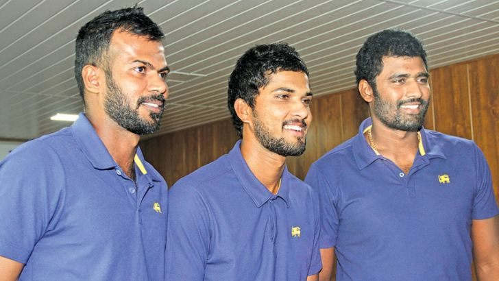 The three Sri Lanka Captains at the media briefing (from left). Upul Tharanga (ODI), Dinesh Chandimal (Test) and Thisara Perera (T20). Picture by Ruwan De Silva