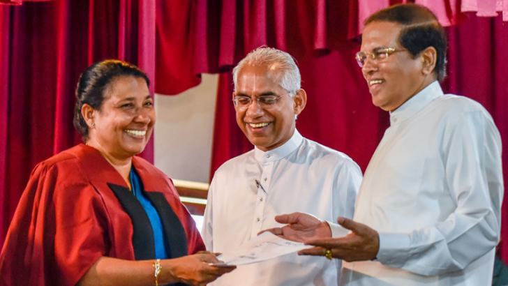 President Maithripala Sirisena, State Minister Eran Wickramaratne and Principal Malini Samarakoon at the ceremony. Picture by President's Media.