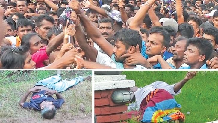 Supporters behaving in an unruly manner. Pictures by Anuradhapura Central Corr.
