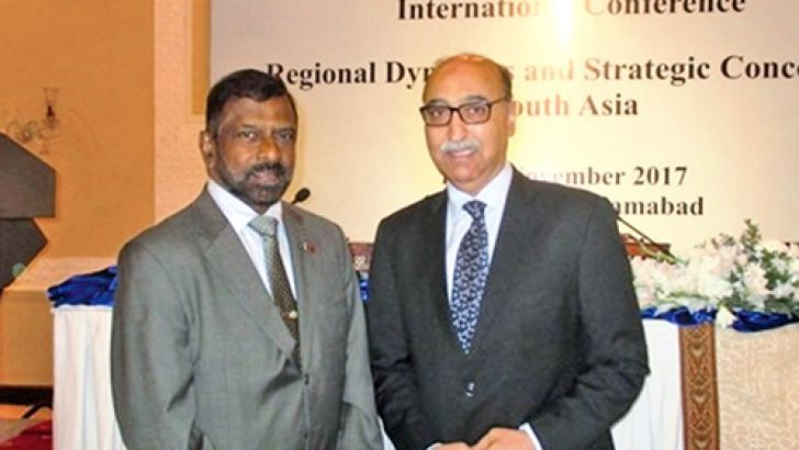 Admiral Professor Colombage, Director, Pathfinder Foundation with Ambassador (retired) Abdul Basit, the president of Islamabad Policy Research Institute