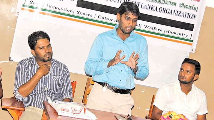 Ampara District Youth Parliamentarian Z.M. Sajith speaking at the meeting. Picture M.I.M. Azhar