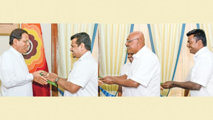 Jathika Nidahas Peramuna (National Freedom Front) Deputy Leader Weerakumara Dissanayake, NFF National Organiser Piyasiri Wijeynayake and its North-Central Provincial Council member P. B. Kumara joined the Sri Lanka Freedom Party  (SLFP) yesterday.  They received letters of SLFP membership from President Maithripala Sirisena at the Presidential Secretariat. The three new SLFP members pledged their support to the programme carried out by the President to develop the country and assured their support to the SL
