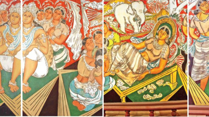 It is  interesting to study the murals at Kelaniya Raja Maha Vihara with those of Gotami Vihara. at Kelaniya, Solias Mendis adapted the modes of the popular Shanti Niketan School of painting particularly that of  Nandalal Bose. with an  element of romanticism in the treatment of the subject at the hands of Solias Mendis