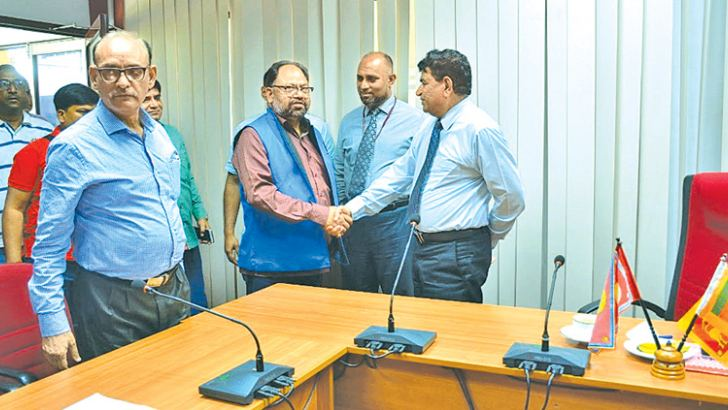 Visiting Indian journalists being welcomed by the Secretary to the Eastern Province Governors J. S. D. M. Asanka Abeywardena.