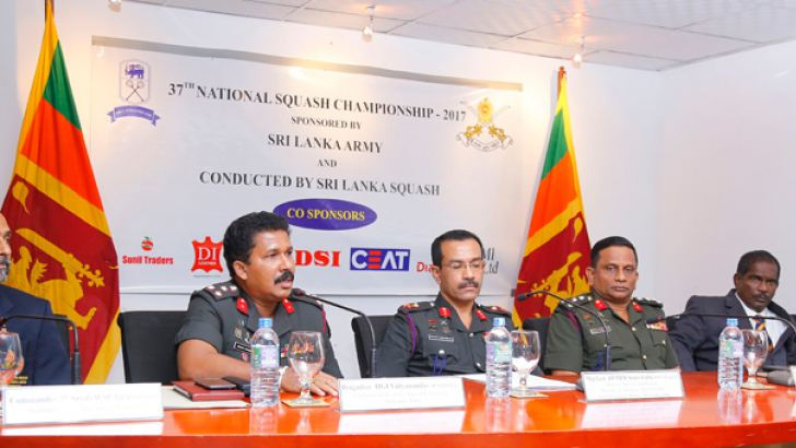 Chairman of Sri Lanka Army Squash Committee Brigadier Indrajith Vidyananda (second from left) addressing the gathering at a media briefing held at Army Media Centre. (From left) Secretary of National Squash Association Commander (Rtd) W.S.P. Jayawardana,  Director/Military Spokesman Maj. Gen. A.W.M.P. Roshan Seneviratne, Director of Army Sports Brigadier W.A.V.A. Sudasingha, President of National Squash Association Air Commodore (Rtd) A. Abeysekara and Army Squash Committee Member Lance Corporal H.M.W.I. Ch
