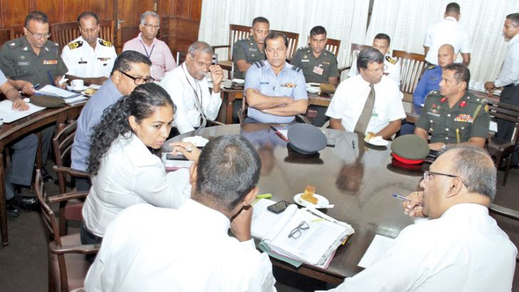 Lake House officials at the meeting with the tri-forces.  Picture by Saliya Rupasinghe
