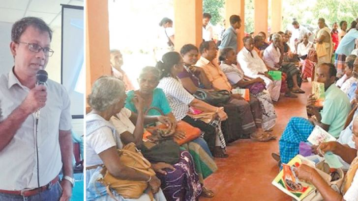 Dr. Nishantha Kumarasinghe and patients at the clinic.