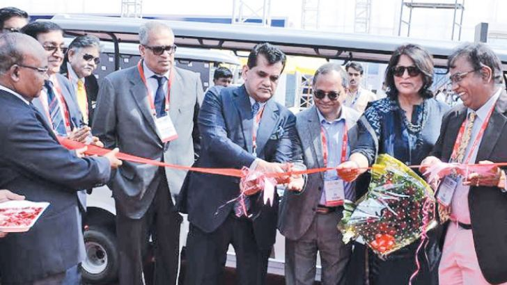 Minister Anant Geete and officials at the equipment exhibition ceremony