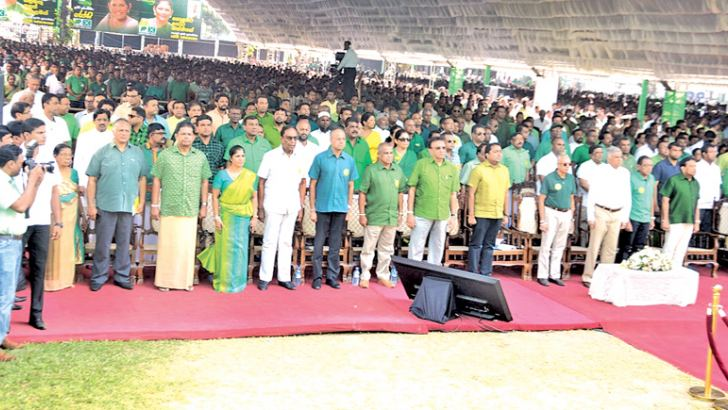 The United National Party's 71st Convention was held at  Campbell Park in Borella with the participation of a large gathering of supporters yesterday. Pictures show several highlights of the occasion. Pictures BY  BANDULA  ALAHAKOON