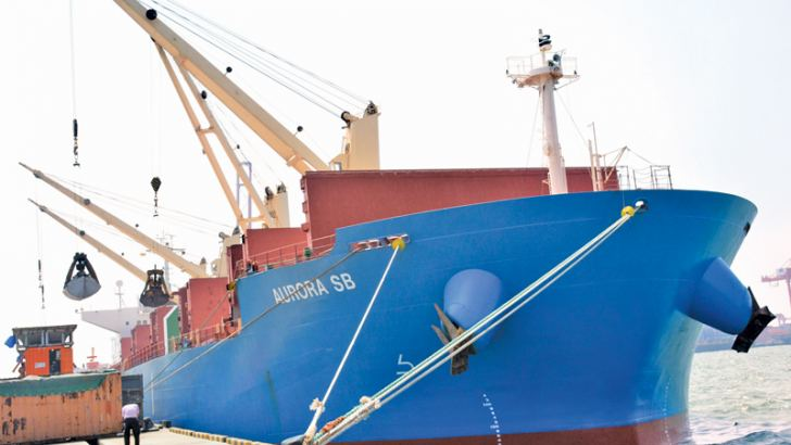 Omani ship Aurora arrived in Colombo Port with a shipment of urea fertilizer. Picture by Sarath Peiris.
