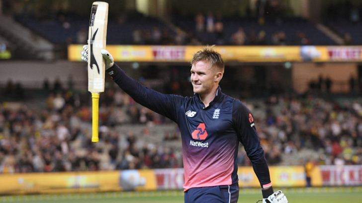 England batsman Jason Roy acknowledges the applause after being dismissed for 180, the highest ODI score by an Englishman in the first ODI against Australia at Melbourne on Sunday. AFP