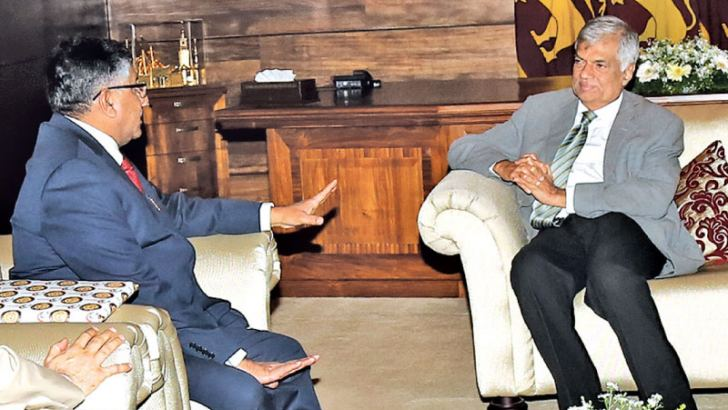 Prime Minister Ranil Wickremesinghe in discussion with  Indian  Minister  of  Law and Justice , Electronics and Information Technology Ravi Shankar Prasad. Law and Order and southern Development Minister Sagala Ratnayake was present