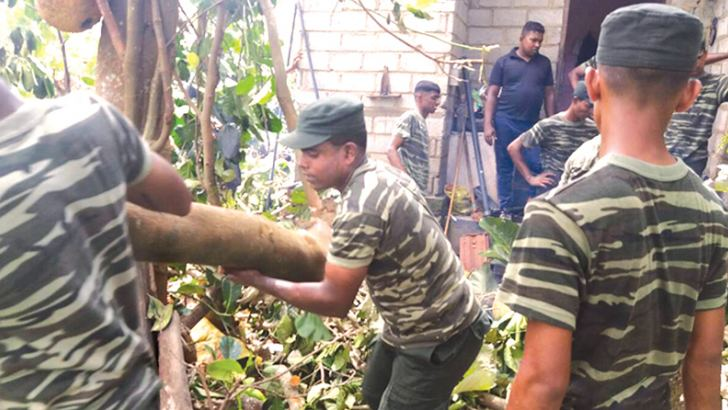 Army personnel removing fallen trees.