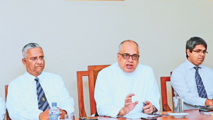 S. Thomas' College Warden Rev. Marc Billimoria, Sub-Warden Asanka S. Perera, Bertal Pinto Jayawardena, Suren Dayaratne, and Senaka De Fonseka at the press briefing. Picture by Saman Sri Wedage.