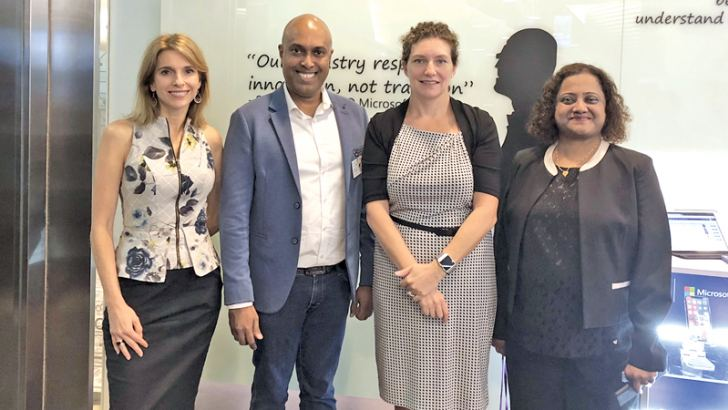 President Asia Pacific Microsoft Andrea Della Mattea,  Harsha Purasinghe CEO Microimage, Michelle Simmons General Manager South East Asia New Markets Microsoft, Pratima Amonkar APAC Area Lead Cloud ISV Microsoft. For Immediate Release: 16th January 2018, Singapore