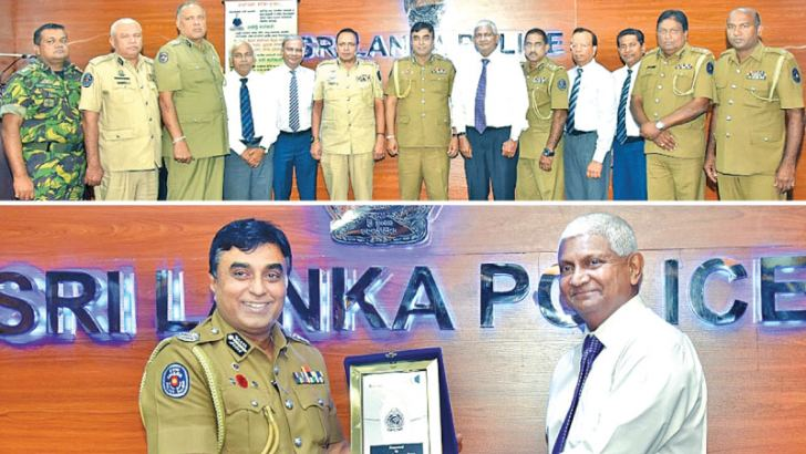Ceylinco Life's Managing Director R. Renganathan, Director and Deputy CEO Thushara Ranasinghe and Directors Palitha Jayawardena and Ranga Abeynayakewith the Inspector General and senior officers of the Sri Lanka Police at the presentation of the donations and Renganathan accepting a token of appreciation from the IGP.