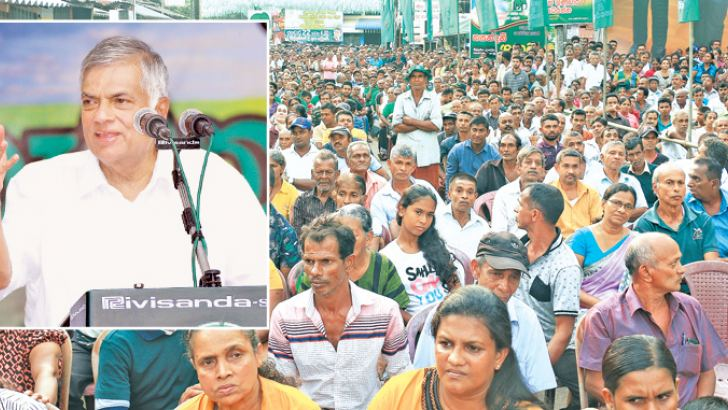 Prime Minister Ranil Wickremesinghe addressing the rally in Millaniya yesterday. Picture by Hirantha Gunathilaka