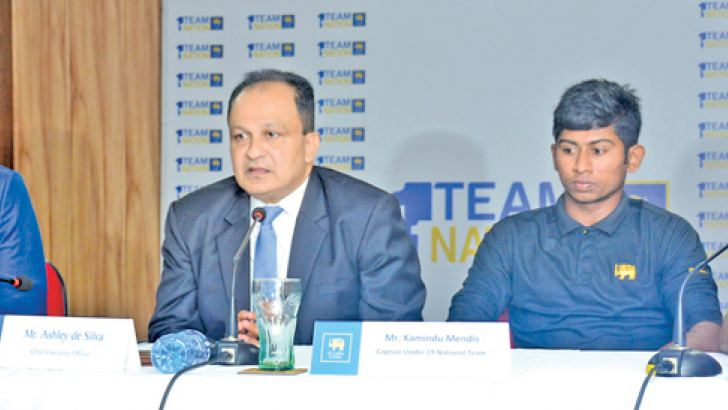 The Sri Lanka under 19 World Cup squad held a press conference at SLC headquarters yesterday after their return from New Zealand. From left: chairman of selectors Graeme Labrooy, SLC CEO Ashley de Silva, Sri Lanka under 19 captain Kamindu Mendis and Sri Lanka under 19 coach Roy Dias. Picture by Ranjith Asanka