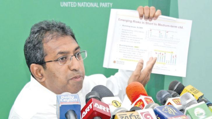 National Policies and Economic Affairs Deputy Minister Dr. Harsha de Silva at yesterday's press conference. Picture by Roshan Pitipana.
