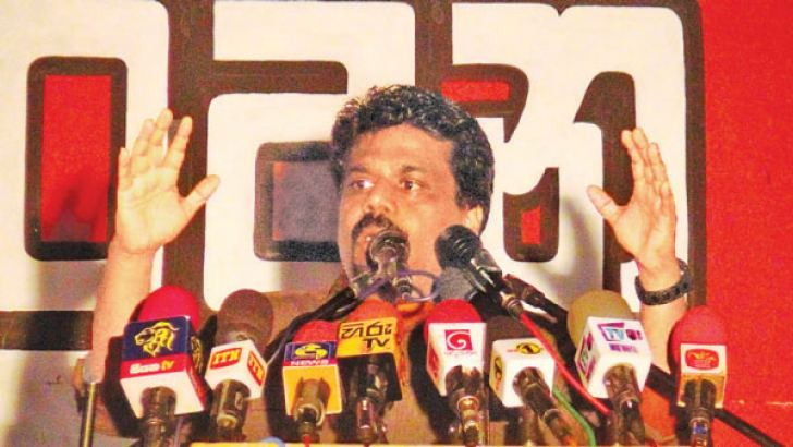 JVP Leader and Member of Parliament Anura Kumara Dissanayake addressing the crowd. Pictures by Sigiriya Special Corr.