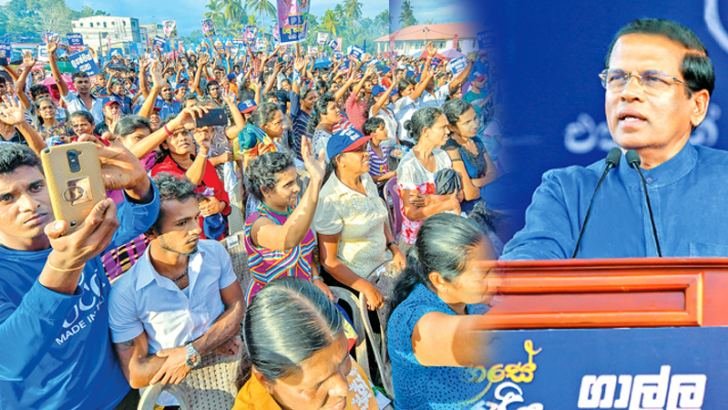 President Maithripala Sirisena addressing UPFA supporters at a rally held in Hakmana last evening. Pictures courtesy President's Media Division.